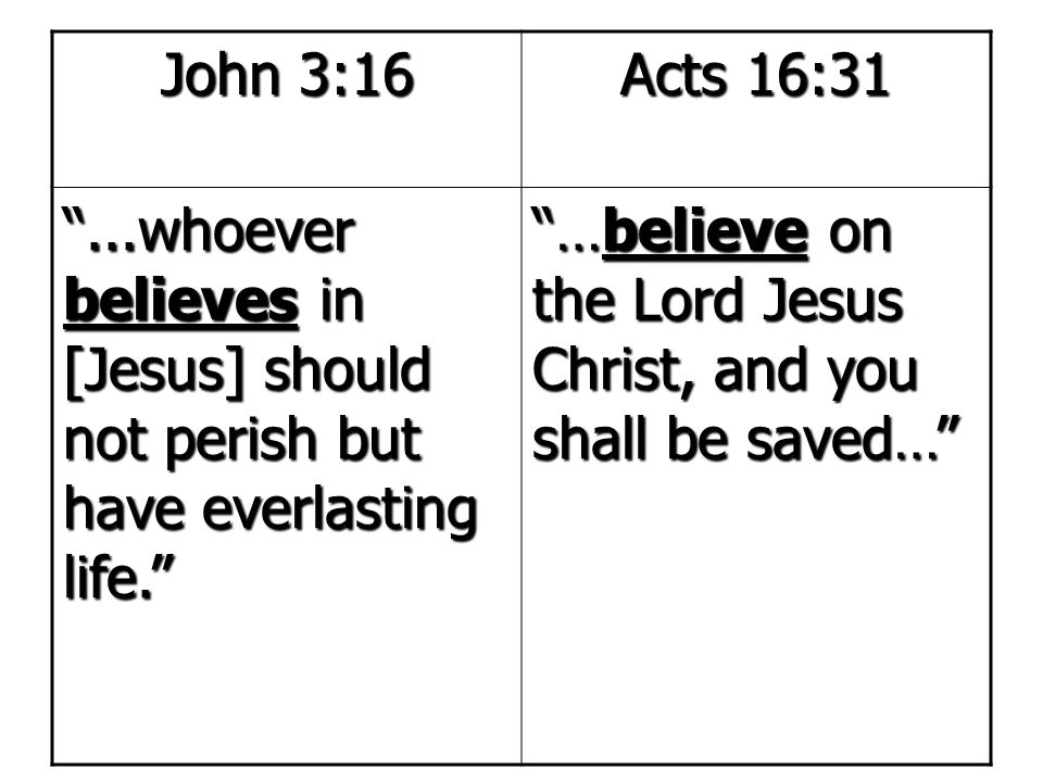 John 3:16 Acts 16:31. ...whoever believes in [Jesus] should not perish but have everlasting life.